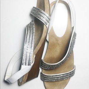 Rhinestone wedge sandal white